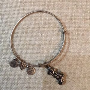 Silver Alex and Ani Motorcycle charm bracelet